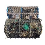 A modern two division rectangular lobster pot on slatted wood base; and an old four-hooped metal