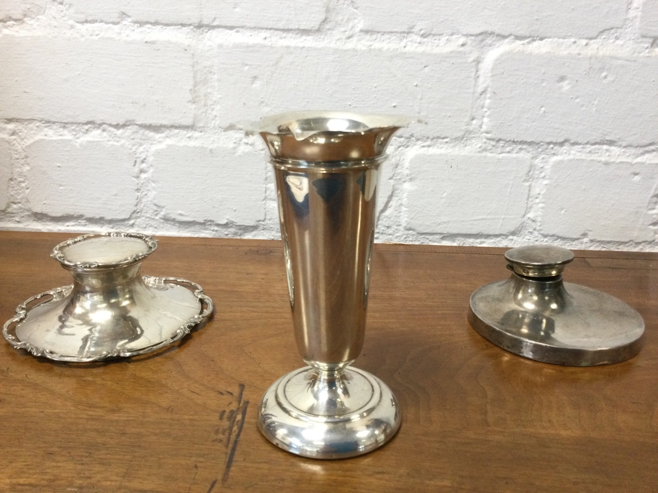 A hallmarked silver trumpet vase with scalloped rim on circular weighted base; a Victorian silver - Image 2 of 3