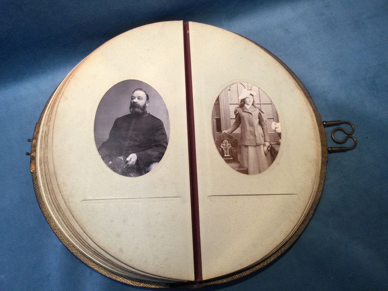 A Victorian leather bound crescent shaped album of studio portrait photographs, the sitters - Image 3 of 3