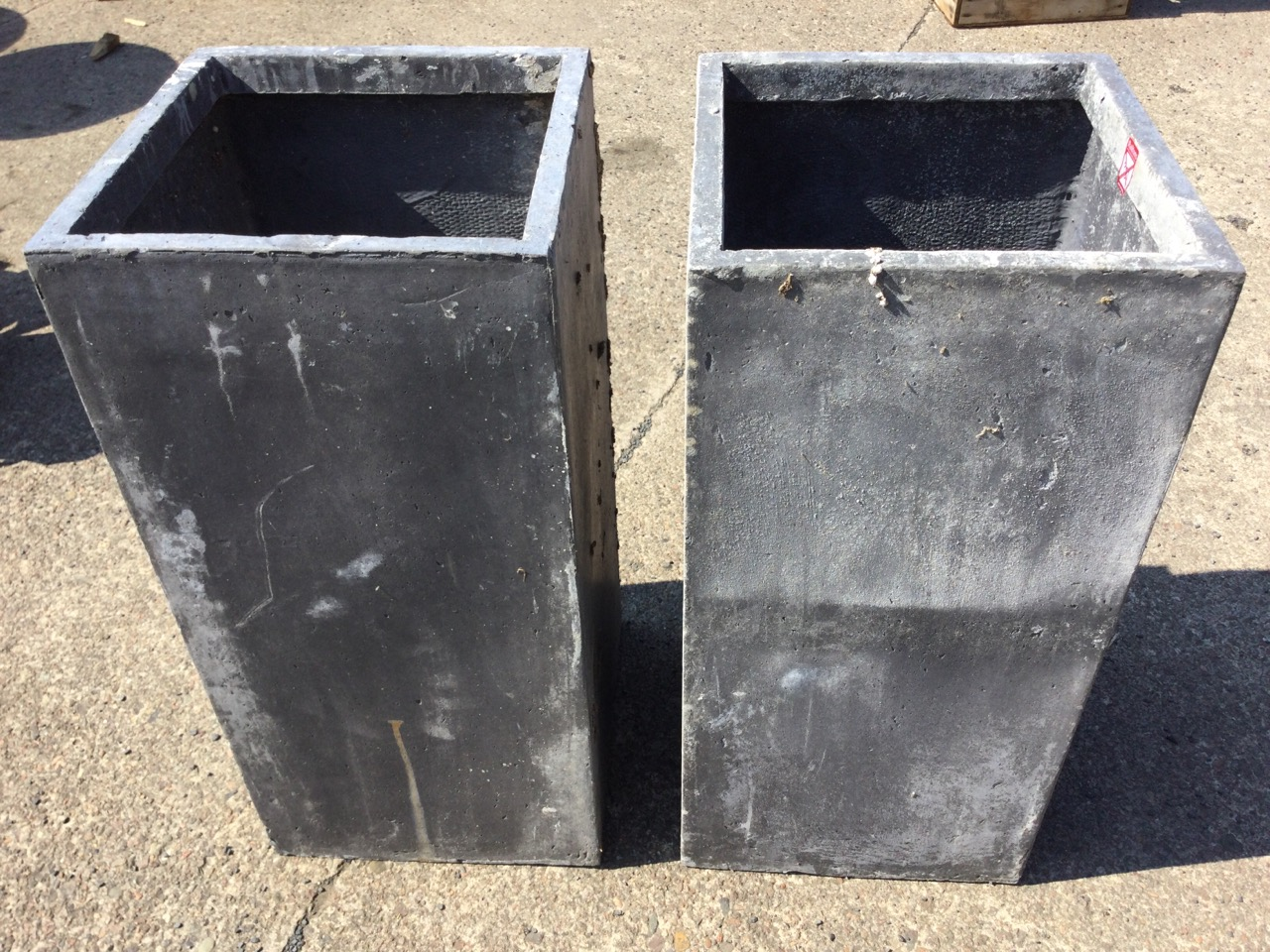 A pair of lead type resin garden planters of square column form. (28in) (2) - Image 3 of 3