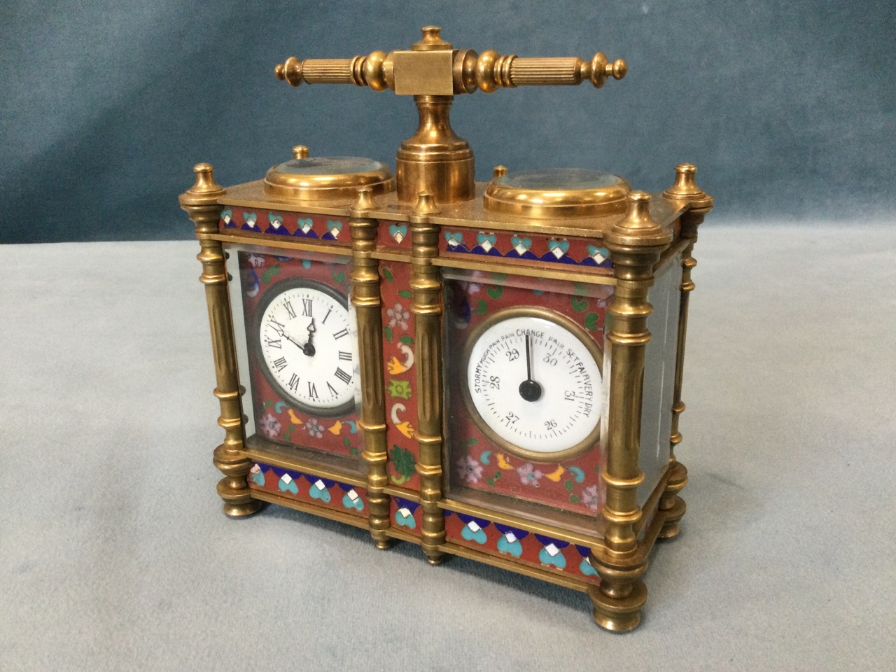 A French Edwardian enamelled brass desk-top clock barometer, the twin instruments with enamelled - Image 3 of 3