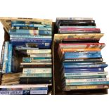 Two boxes of books on aircraft, airforces, aerial warfare, etc, mainly hardbacks. (63)