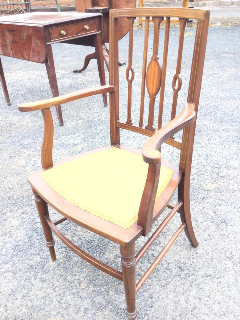 An Edwardian mahogany armchair inlaid with boxwood stringing, the back with slender spindles - Image 2 of 3