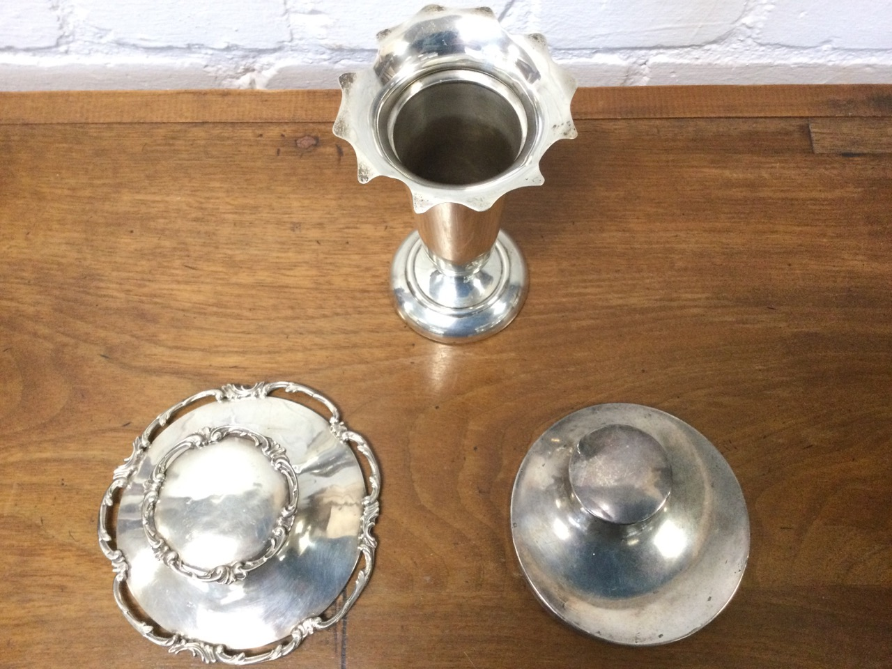 A hallmarked silver trumpet vase with scalloped rim on circular weighted base; a Victorian silver - Image 3 of 3