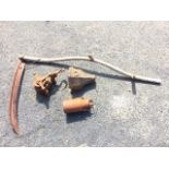 An antique scythe with shaped tapering ash shaft; a cast iron rainwater gutter hopper with Percy