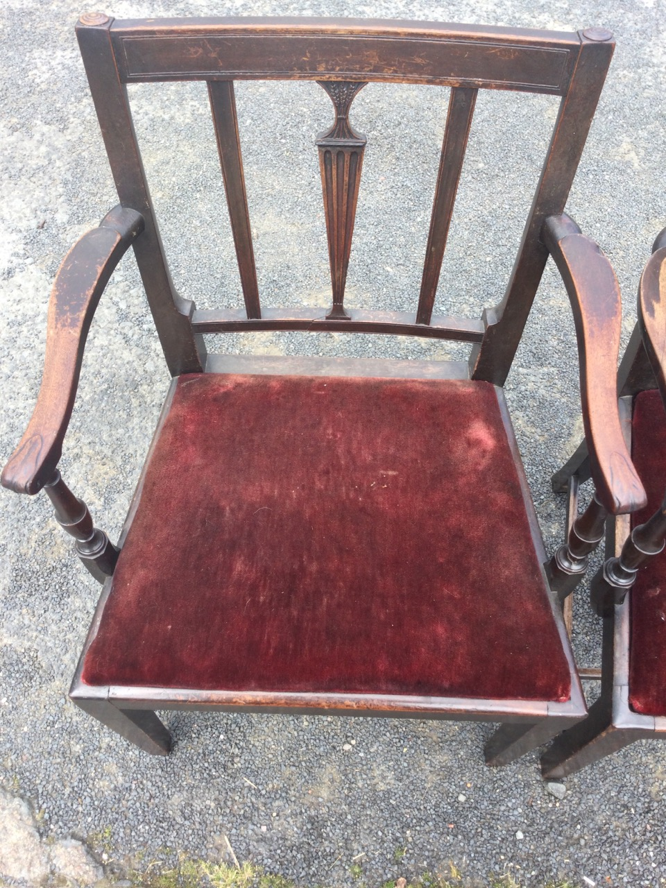 A pair nineteenth century mahogany carved elbow chairs, the rectangular backs with central fluted - Image 3 of 3