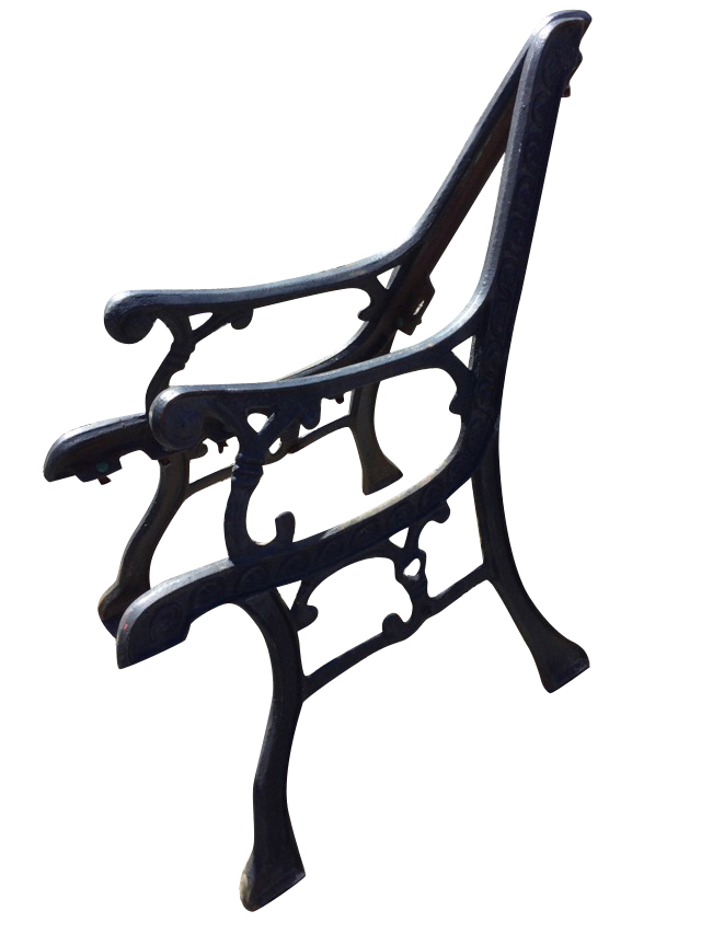A pair of cast iron bench ends, the channelled frames with scrolled decoration with scrolled arms,