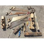 Miscellaneous tools including moulding planes, chisels, braces, pliers, saws, etc. (A lot)