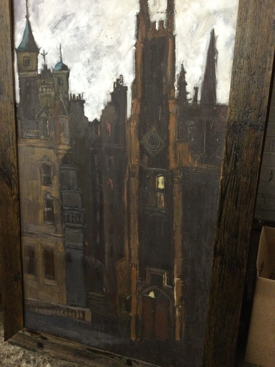 Clare Money, oil on board, townscape with buildings, signed to verso, framed. (23.5in x 43.75in) - Image 3 of 3