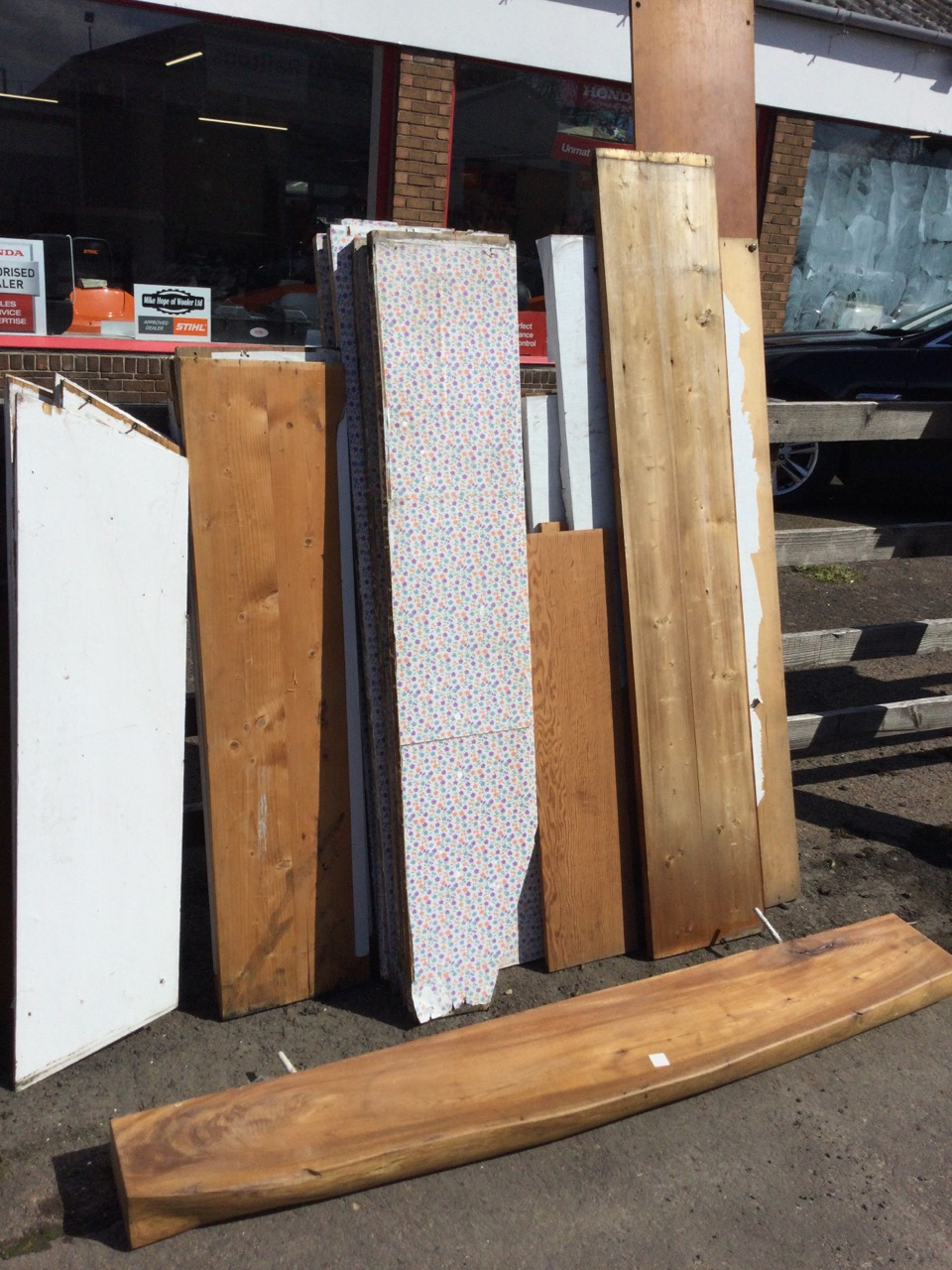 A quantity of wide old pine shelving boards from a pantry, the shelves of various sizes, painted, - Image 3 of 3