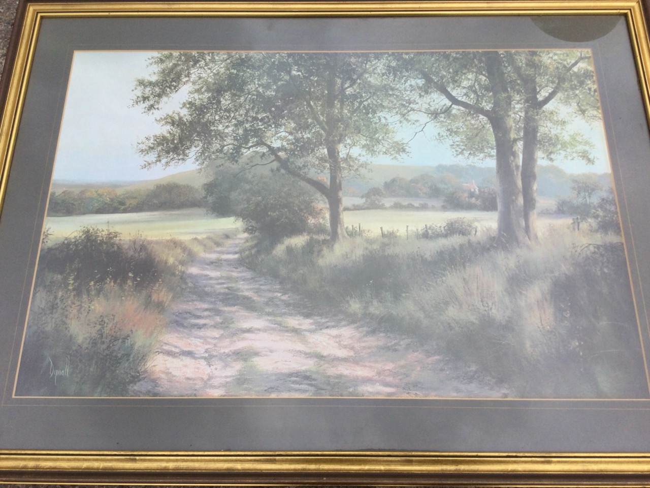 Dipnall, oileographic coloured print, landscape with track beneath trees, signed in print, mounted & - Image 2 of 3
