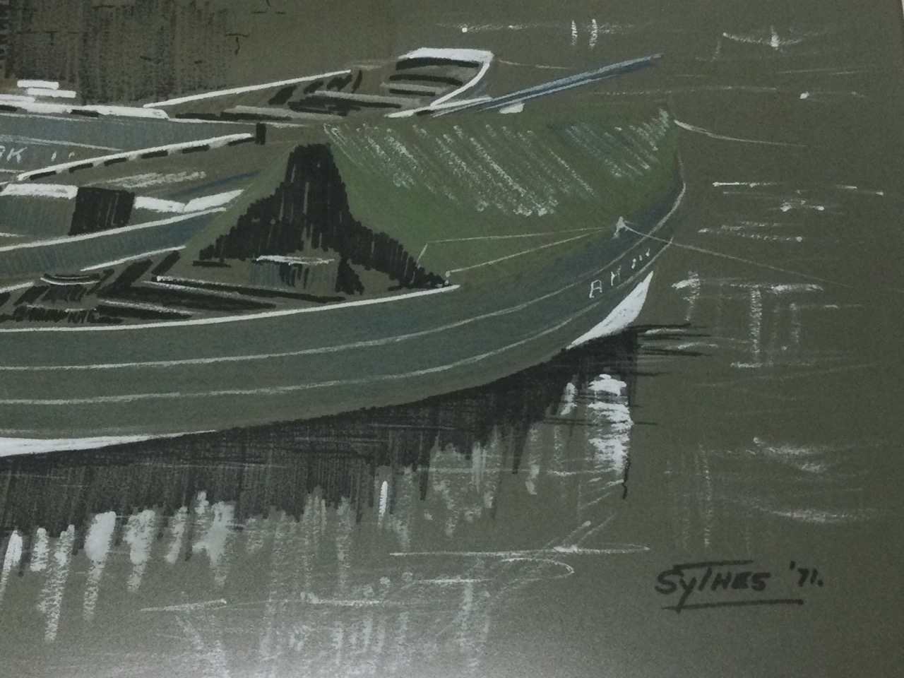 Scythes, pen, crayon & bodycolour on buff paper, boats tied up by quay wall, signed & dated 1971, - Image 2 of 3