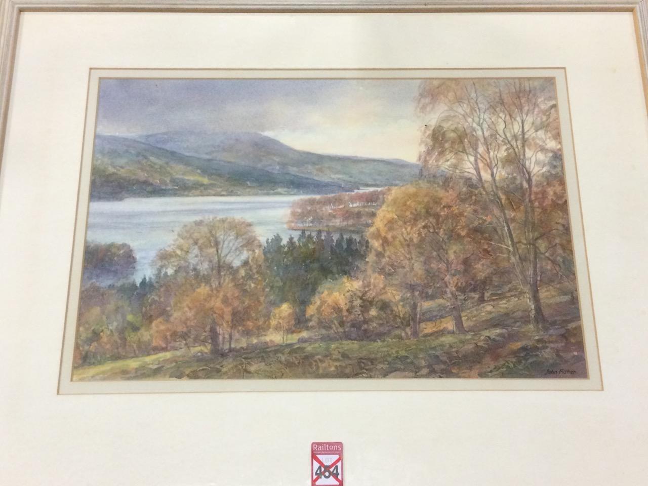 John Fisher, watercolour, Scottish landscape, inscribed to label verso Loch Tummel & Schiehallion,