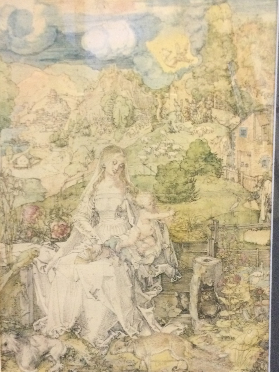 A handcoloured nineteenth century framed print of mother & child in bucolic landscape with - Image 2 of 3