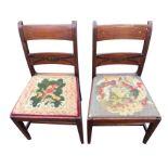 A pair of nineteenth century mahogany chairs, the bar backs inlaid with boxwood & ebony stringing