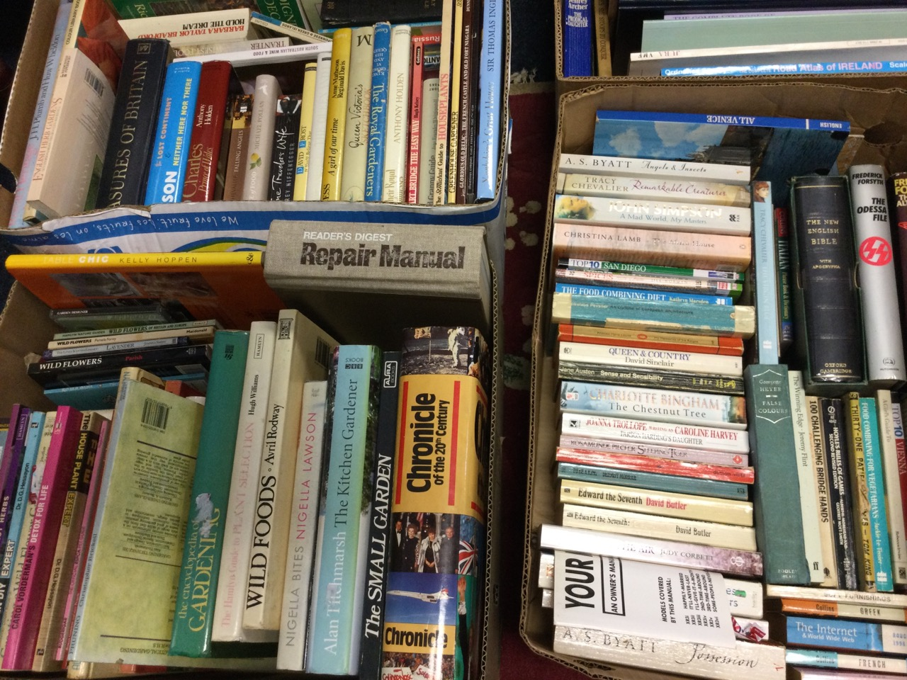 Five boxes of books - gardening & cooking, history & royalty, antiques & Millers guides, travel & - Image 3 of 3