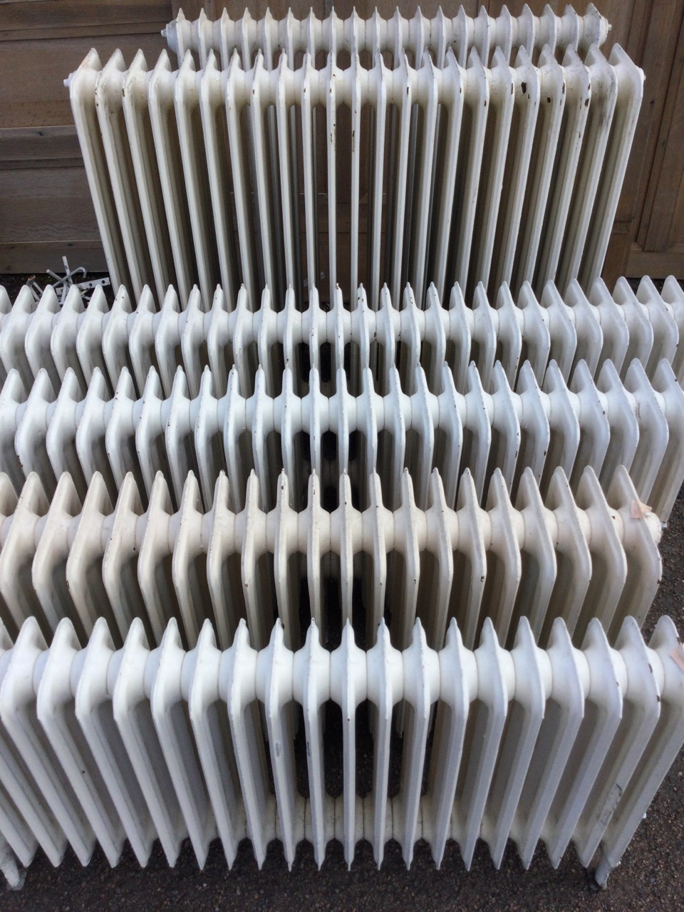 Six miscellaneous cast iron radiators, the panels on angled legs - various heights & lengths, and - Image 2 of 3