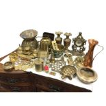 Miscellaneous brass including a desk stand, a pair of Indian vases, bowls, tortoises, ornaments,
