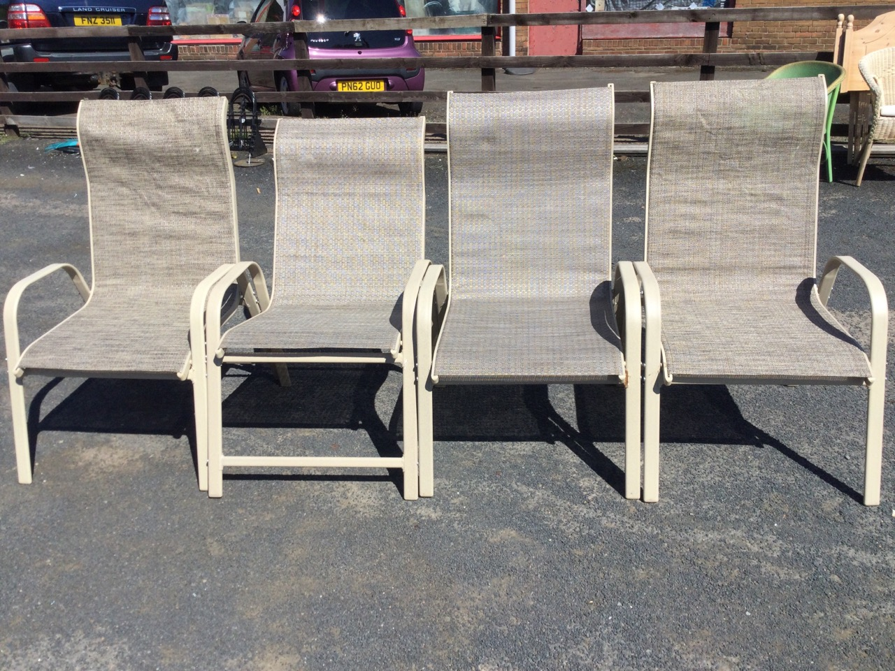 A set of four garden armchairs with fabric type seats on rounded rectangular metal frames. (4) - Image 2 of 3