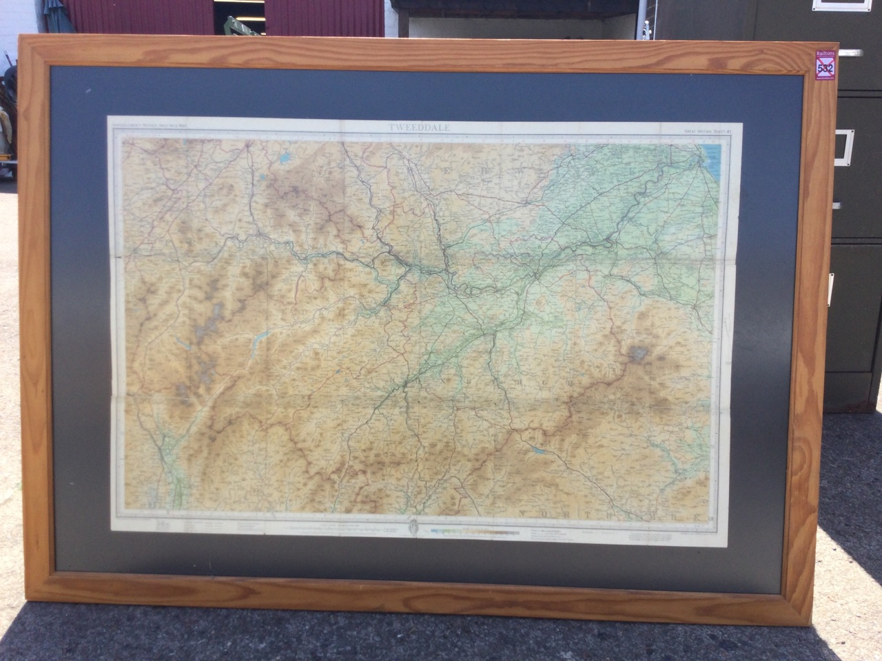 A rectangular framed C20th Bartholomews map of Tweeddale, the coloured half-inch plate centering - Image 3 of 3