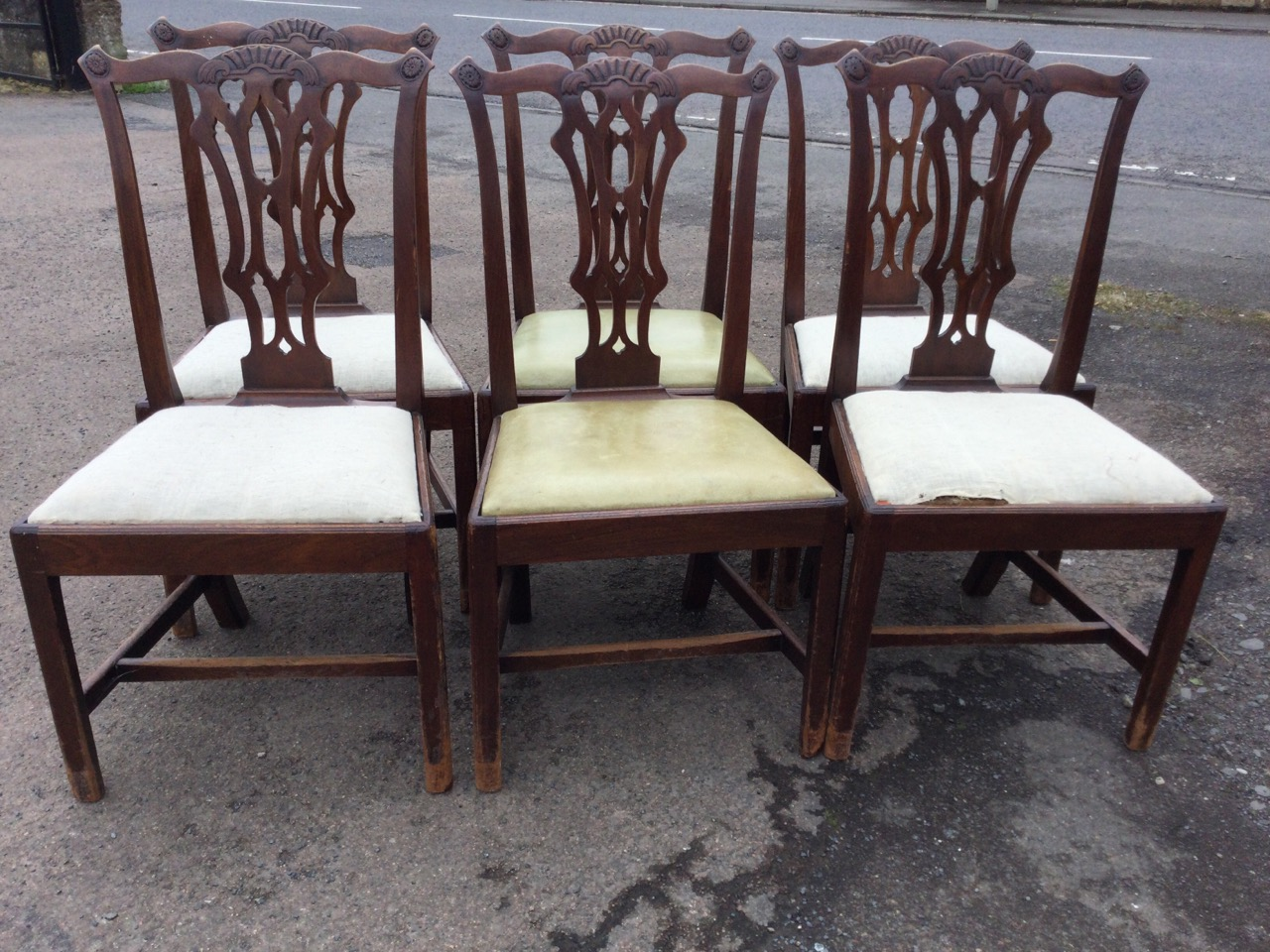 A set of six period Chippendale style mahogany dining chairs, the scalloped back rails with shell - Image 2 of 3