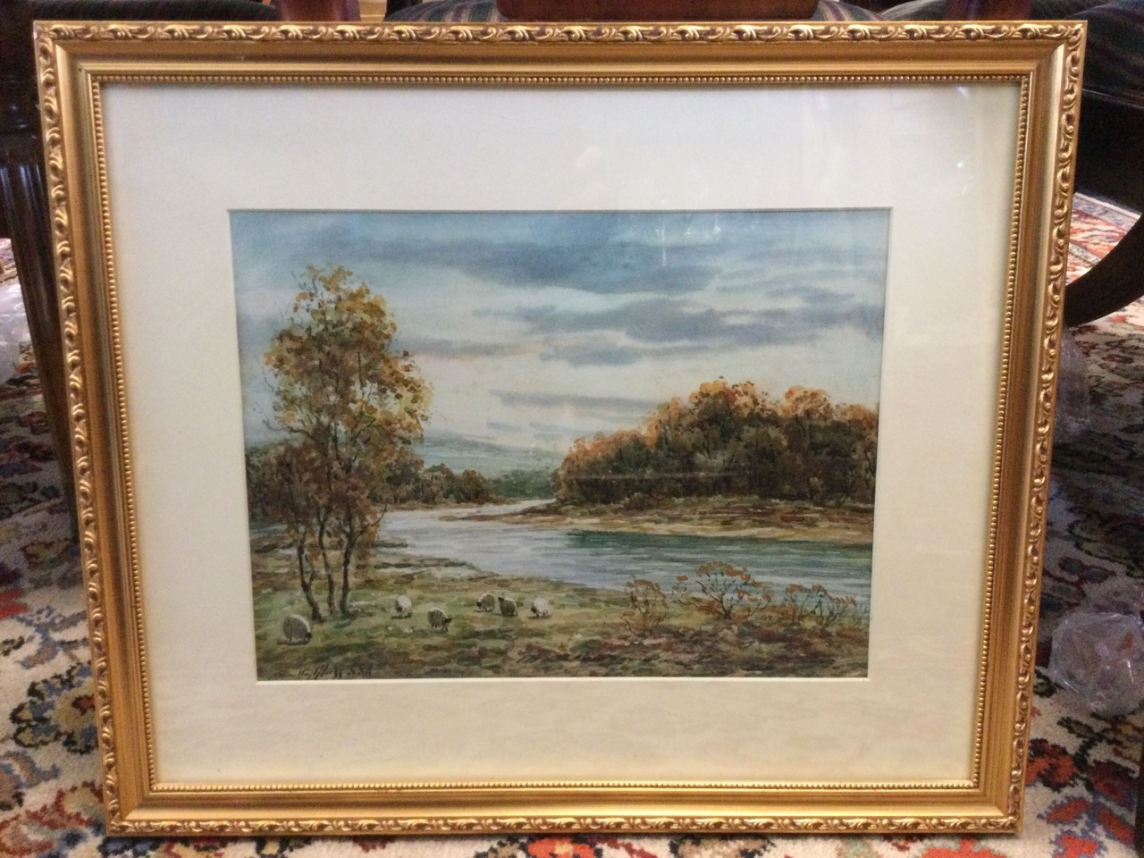 Hamilton Glass, watercolour, river landscape with sheep in foreground, signed, mounted & gilt - Image 2 of 3