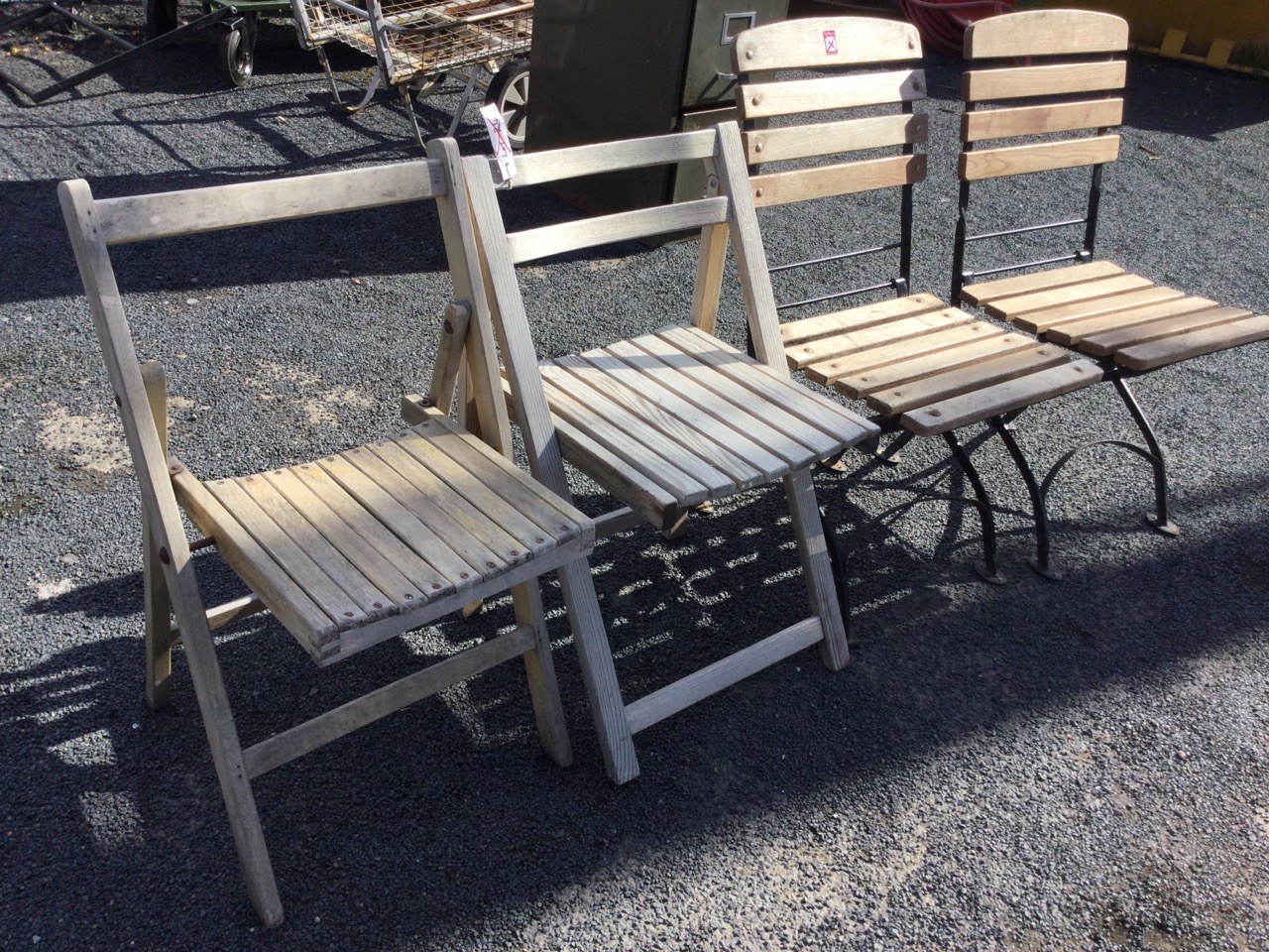 A pair of metal framed folding garden chairs with slatted backs & seats; and two other wood - Image 3 of 3