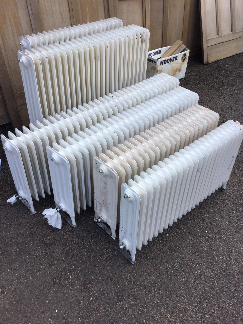 Six miscellaneous cast iron radiators, the panels on angled legs - various heights & lengths, and - Image 3 of 3