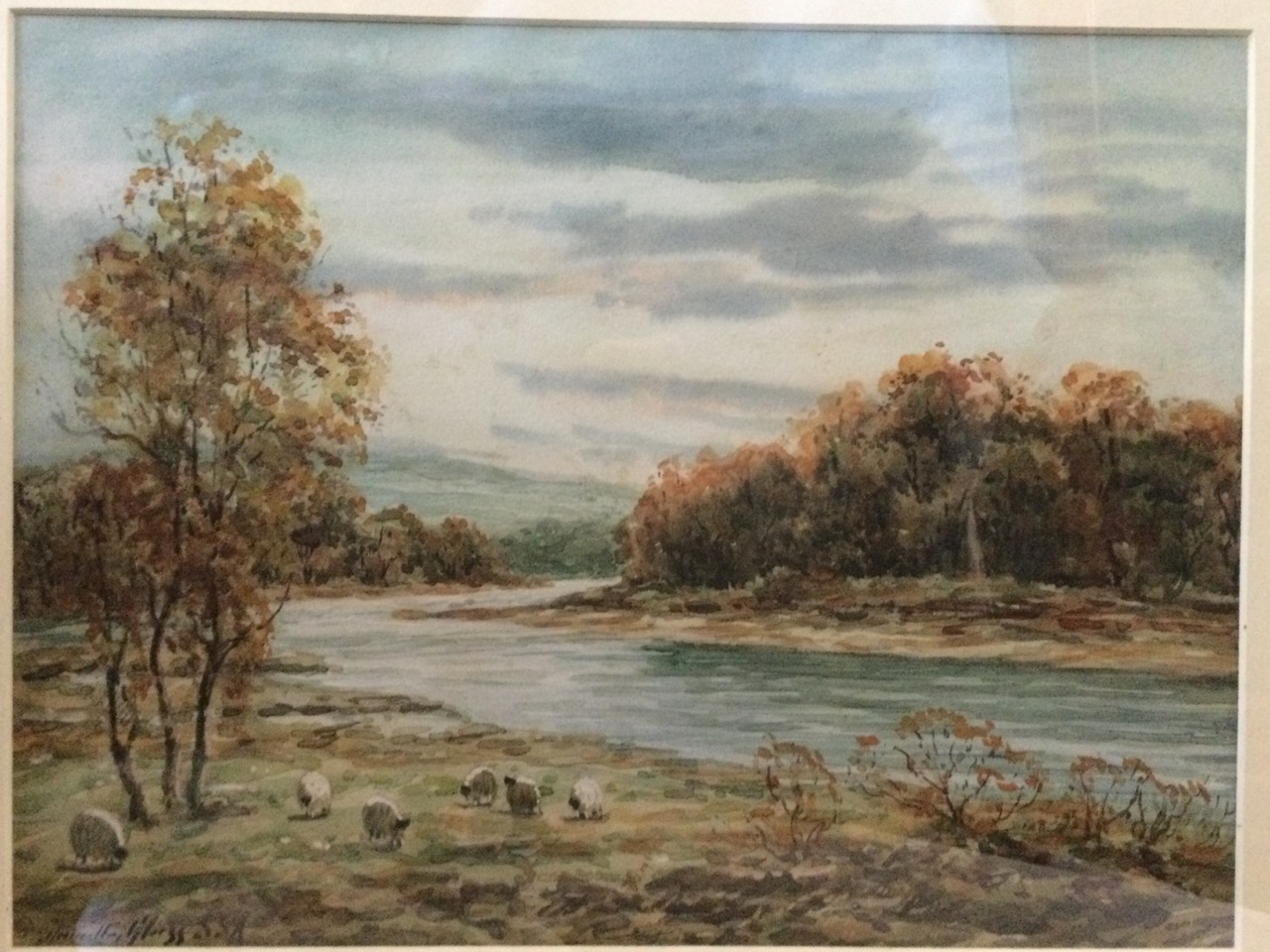 Hamilton Glass, watercolour, river landscape with sheep in foreground, signed, mounted & gilt