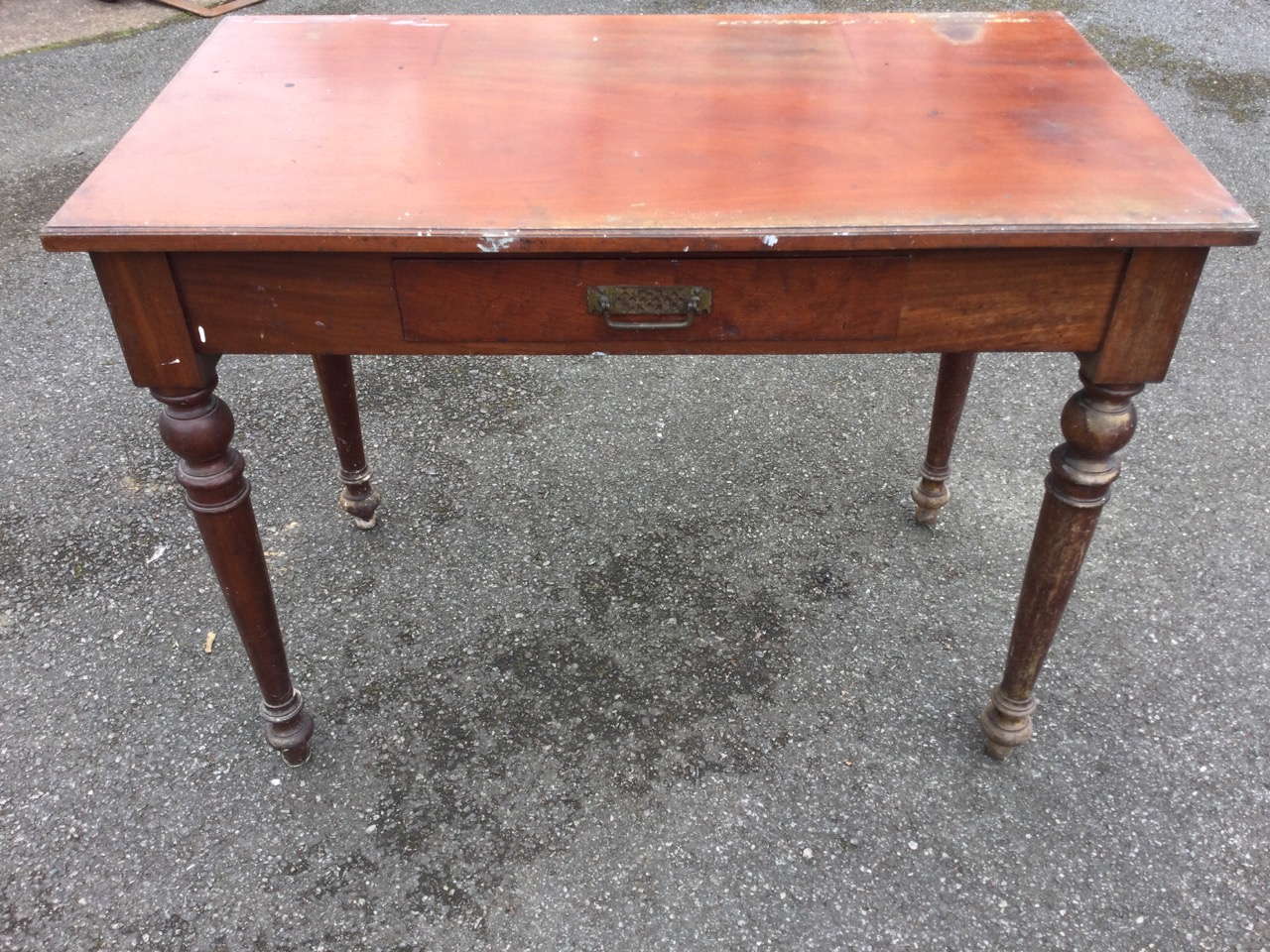 A Victorian mahogany side table with rectangular moulded top above a central frieze drawer, raised - Image 2 of 3