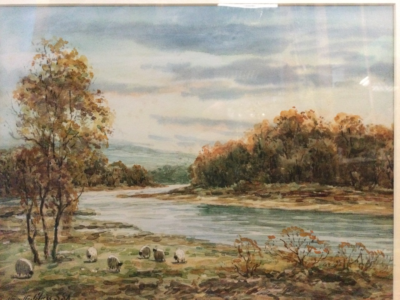 Hamilton Glass, watercolour, river landscape with sheep in foreground, signed, mounted & gilt - Image 3 of 3
