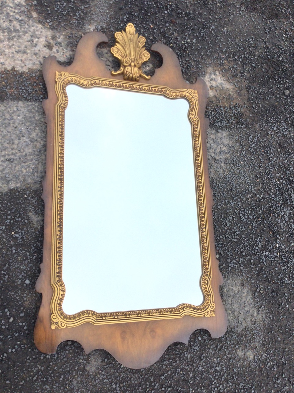A George II style walnut framed mirror, the pediment with scrolled gilt leaf crest above a shaped - Image 3 of 3