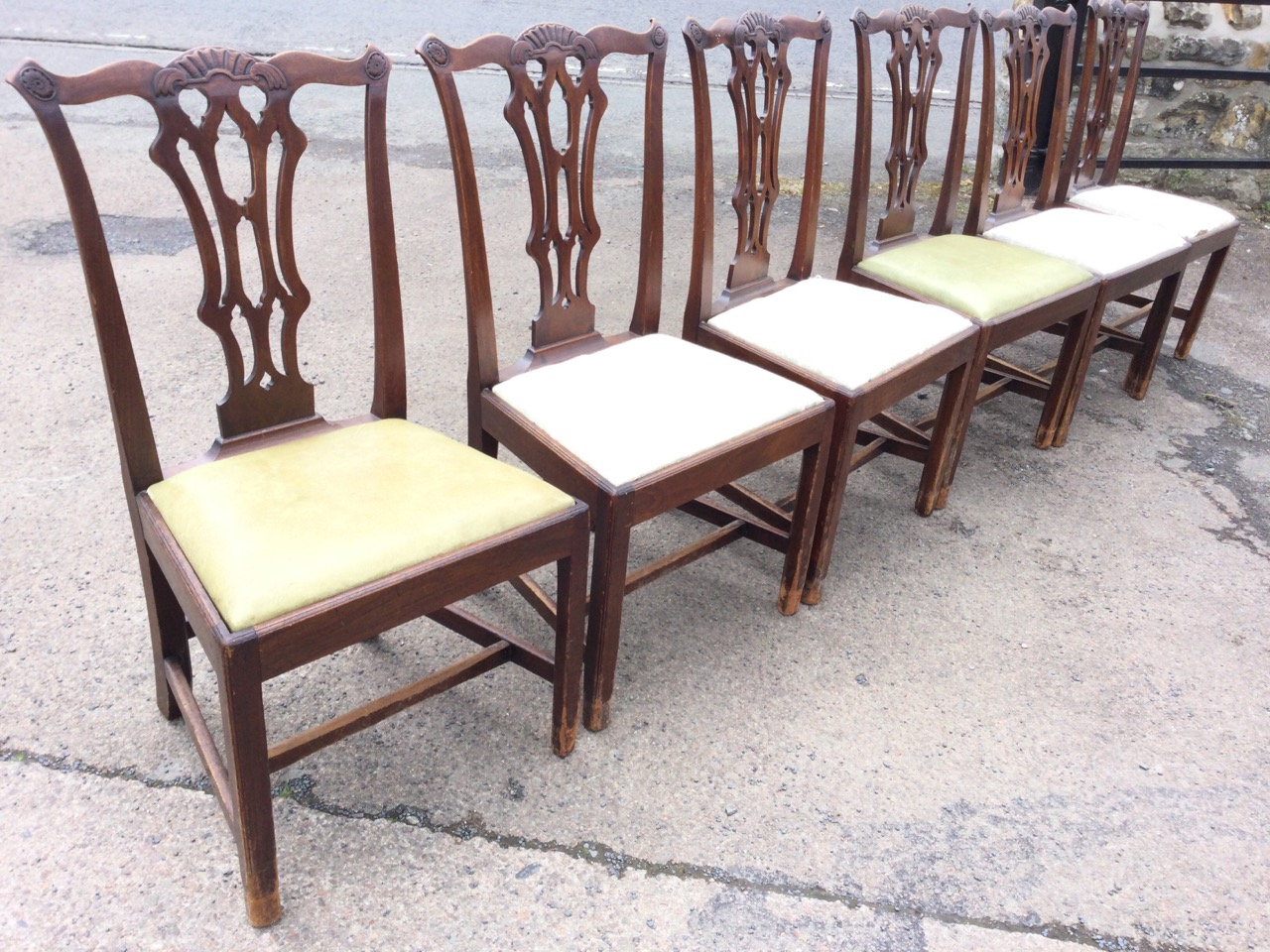 A set of six period Chippendale style mahogany dining chairs, the scalloped back rails with shell - Image 3 of 3
