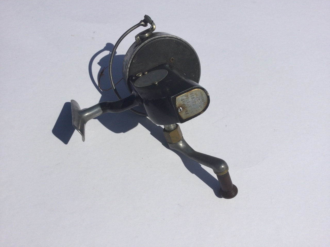 A Hardy Altex spinning reel, No 2 Mark V, having grey metallic body and folding handle. - Image 2 of 3