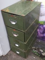 Four metal card index file drawers, mounted with chromed cup handles with label holders. (10.5in x
