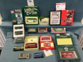 A collection of toy buses including Corgi, many boxed editions, Matchbox, London Transport,