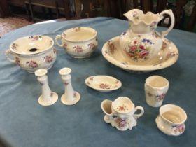 A Victorian style Staffordshire wash set with jug & basin, pair of potties, shaving mug, soap