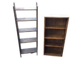 An oak open bookcase with five shelves having shaped sides; and another small set of open
