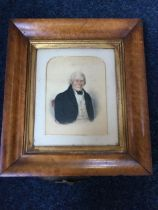 J Wood, Victorian watercolour, waist portrait of a gentleman, signed & dated 1846, mounted and in