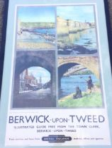 A 1950s British Railways poster promoting Berwick upon Tweed, with four colour photographs of the