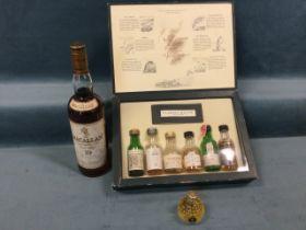 A C20th bottle of the Macallan single highland malt scotch whisky, the sealed bottle 700ml; a box of