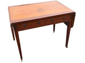 A nineteenth century mahogany sofa table, the crossbanded top with boxwood stringing having rule-