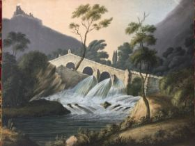 Anna Maria Powell, watercolour with bodycolour, river landscape scene with ruin on hill and arched