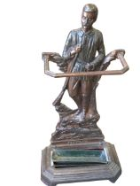 A Victorian cast iron Stanley stickstand, the moustachioed figure of the explorer with gun