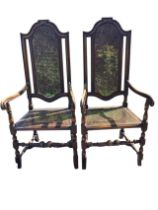 A pair of Queen Anne style side chairs, the backs with arched cushion moulded frames around cane