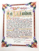A 1915 illuminated leather bound presentational volume dedicated to the Rev RH Davidson, vicar of