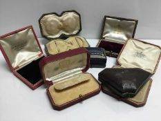 Group of 7 good quality antique and vintage leather jewellery boxes to include a Cartier box possibl