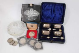 Set four silver salts in fitted case, 1977 Silver Jubilee coin, other coins and glass sugar bowl in