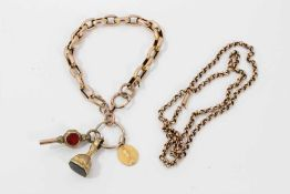Victorian 9ct rose gold belcher link chain and Victorian yellow metal bracelet with three charms