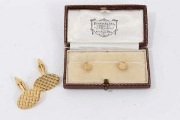 Pair 18ct gold cuff links and pair 9ct gold collar studs